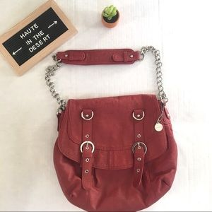Big Buddha russet red chain strap purse saddlebag